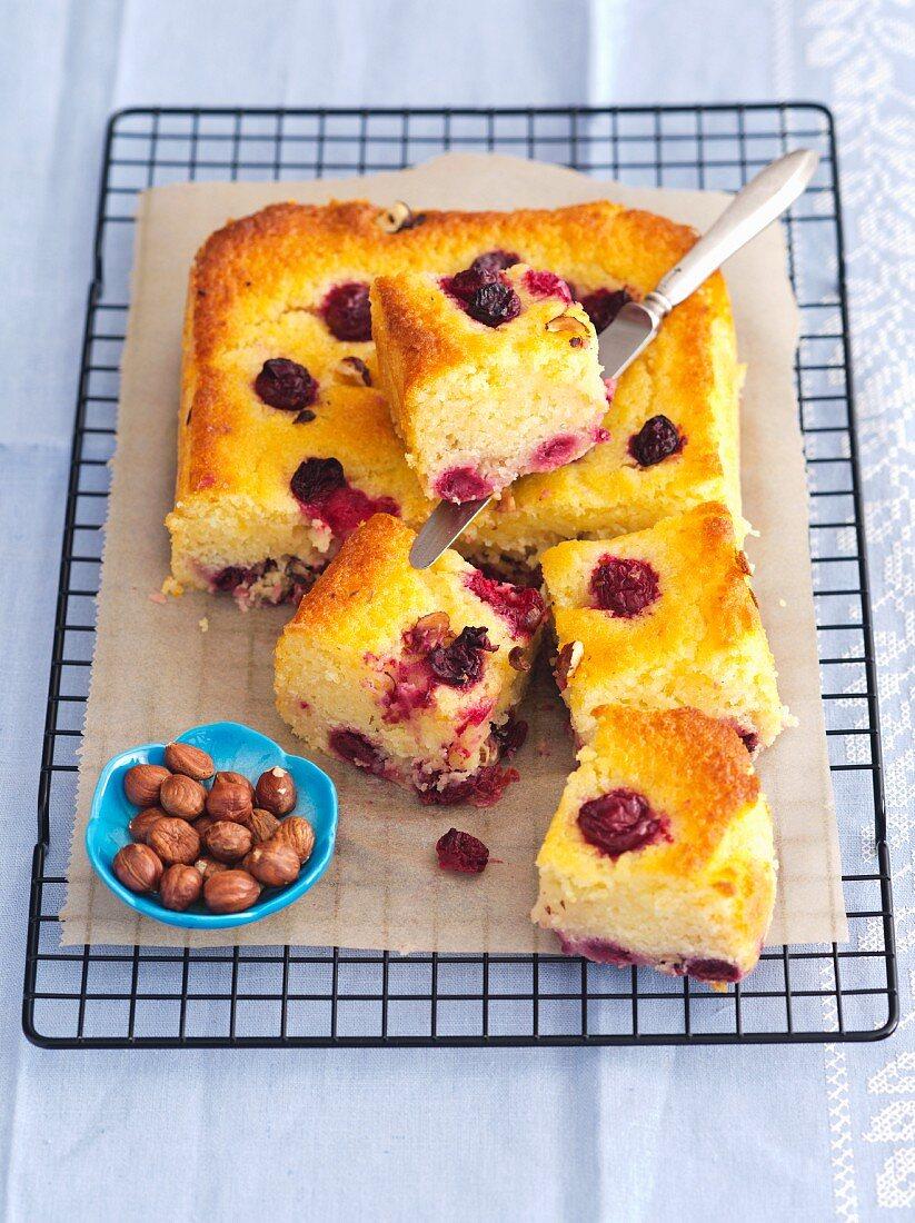 Yogurt cake with sour cherries and hazelnuts