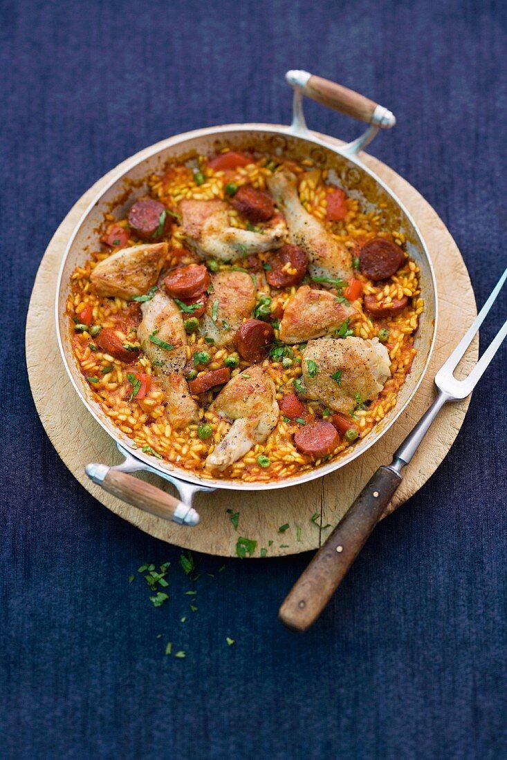 Paella with chicken and chorizo