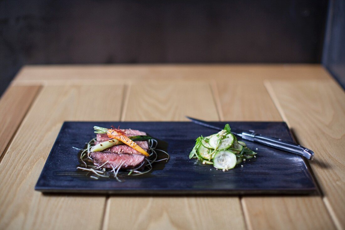 Korean beef with a cucumber salad