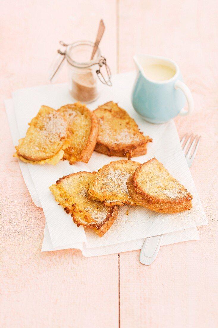 French toast with cinnamon sugar and vanilla sauce