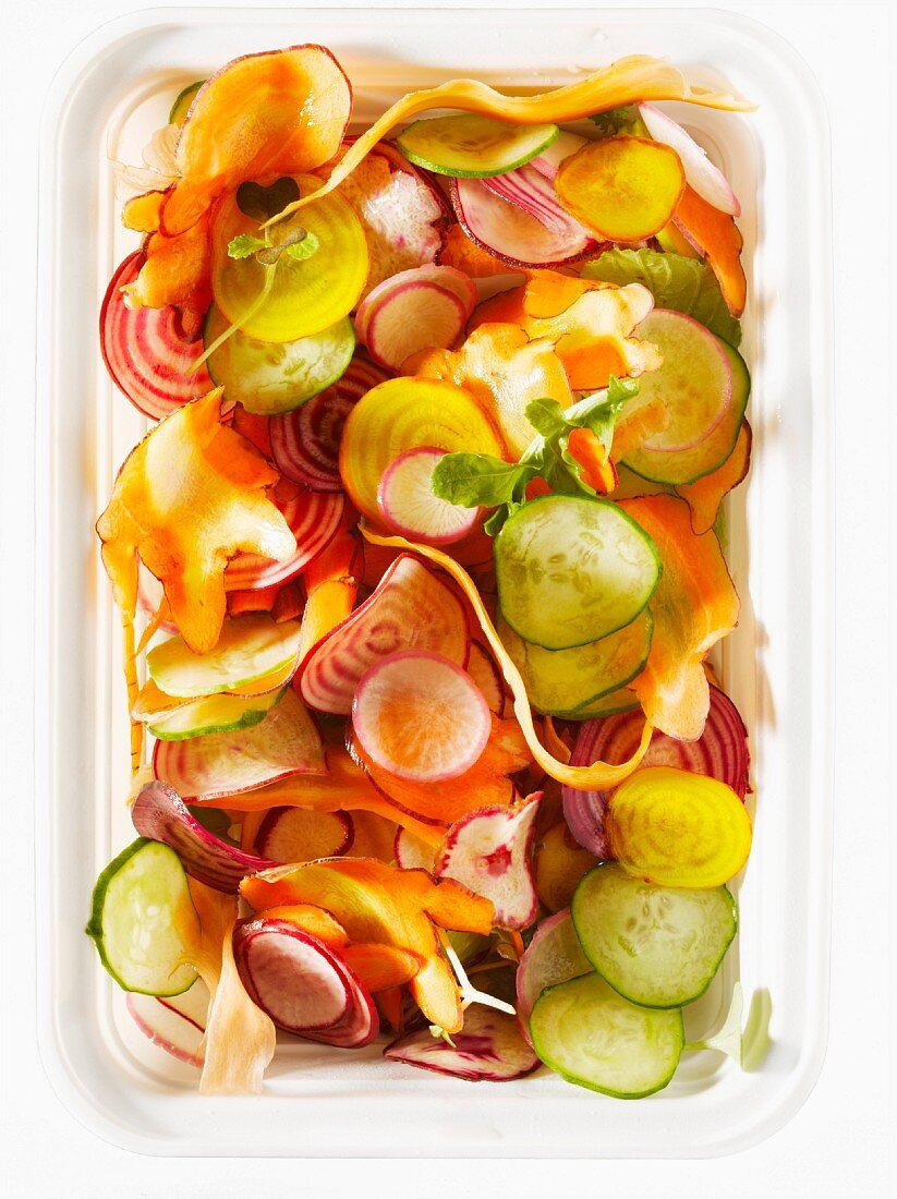 Pickled vegetables in a plastic dish