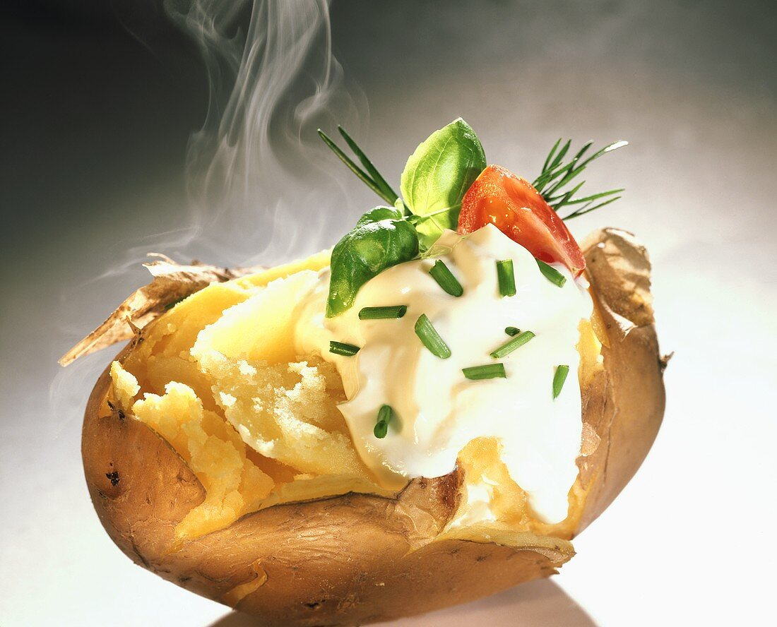 Steaming Jacket Potato; Sour Cream and Chives