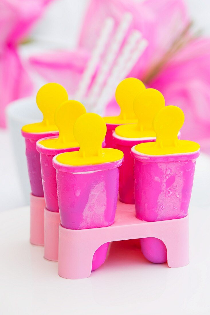 Six pink ice lolly moulds in a pink stand