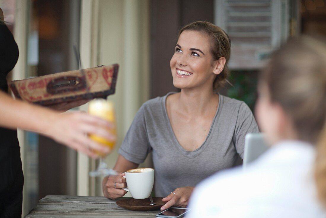 Breakfast in a cafe