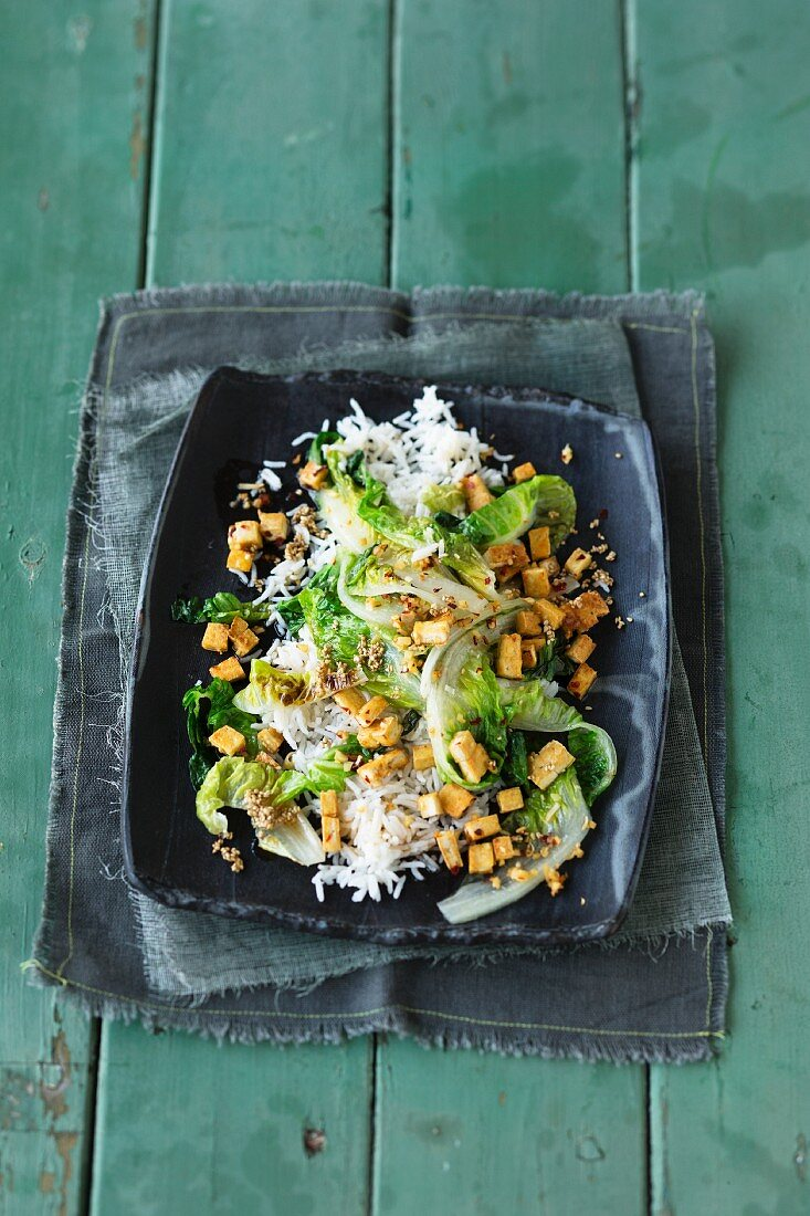 Chinese cabbage with tofu on a bed of rice