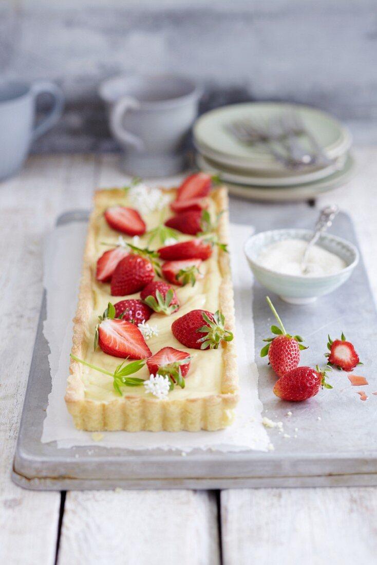 Woodruff tart with strawberries