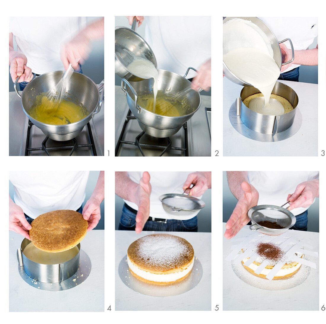 A creamy cheese cake being made