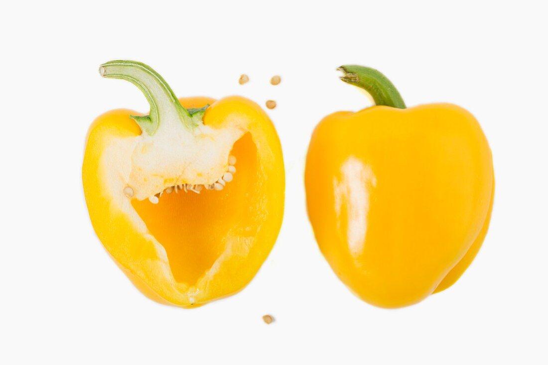 Yellow pepper, halved
