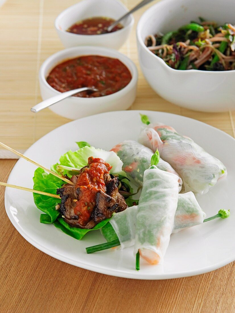 Vietnamese summer rolls and beef skewers with sauces, served with a pasta and bean salad