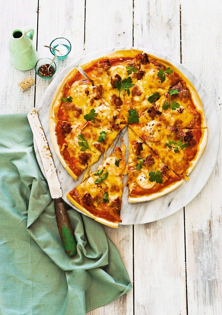 Garlic prawn and chorizo pizza