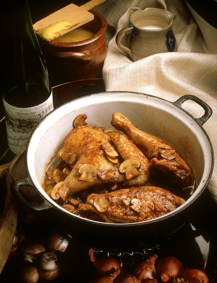 Chicken cooked in Riesling wine with mushrooms