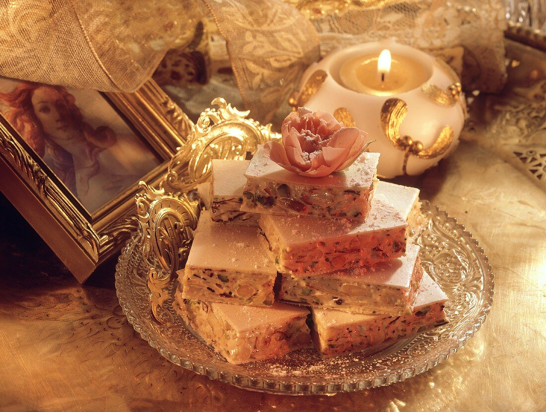 Turrone (nougat made from almonds, honey, egg white, pine nuts)