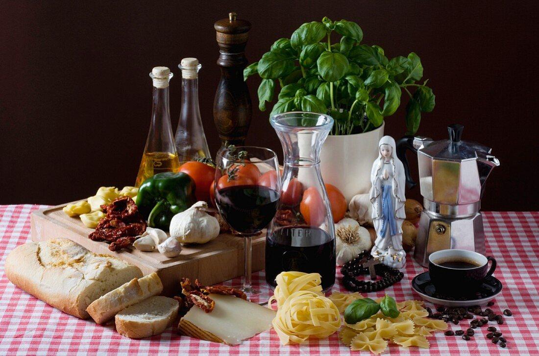 An arrangement of typical Italian ingredients