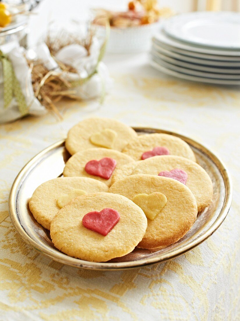 Biscuits decorated with hearts for an Easter brunch