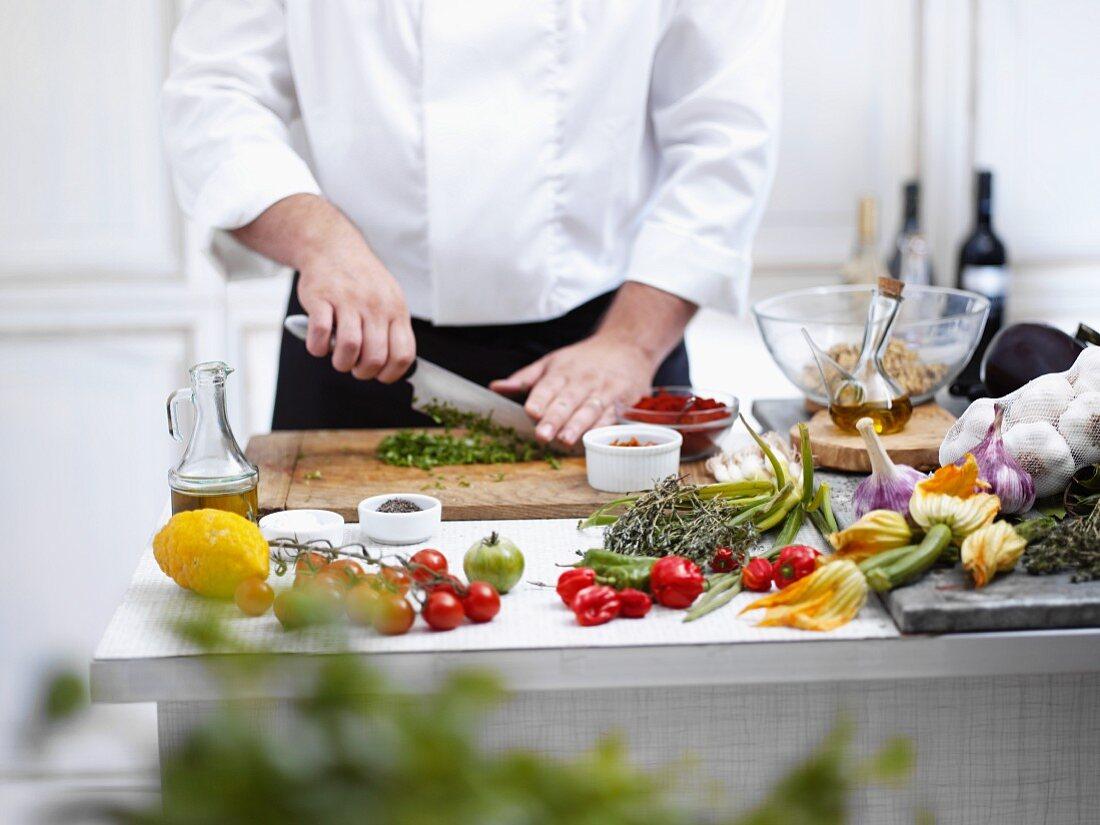 Chef slicing vegetables