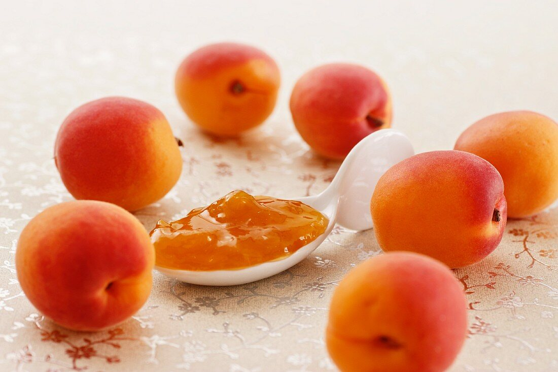 Apricots and a spoonful of jam on a shimmering waxed tablecloth