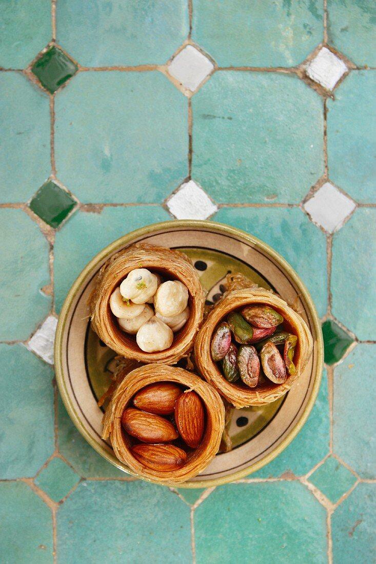 Turkish nut cakes on a ceramic plate