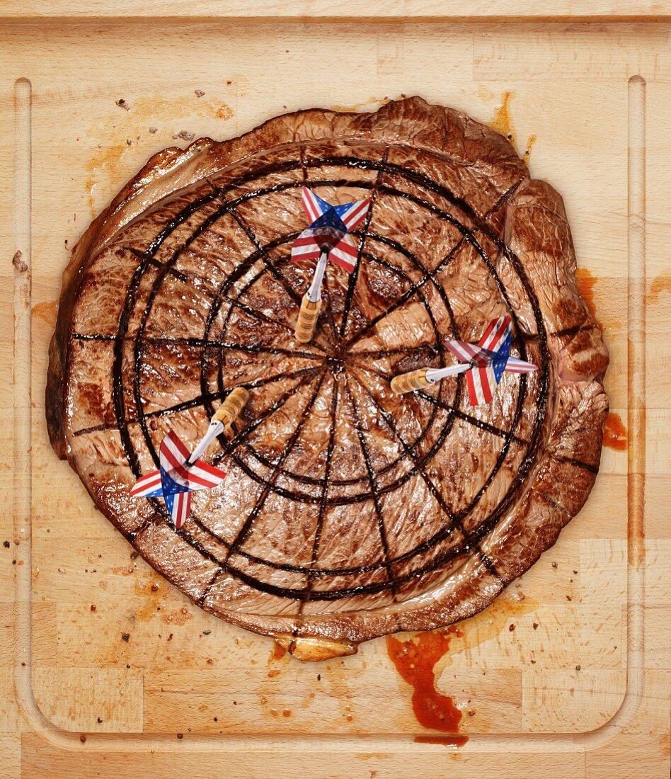 A beefsteak as an American dartboard