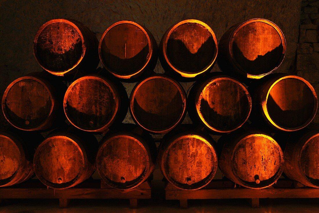 Barrels of white wine in storage