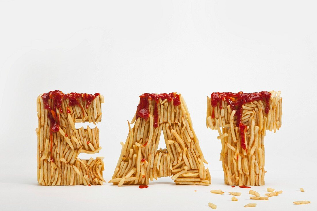 French fries spelling the word 'Eat'