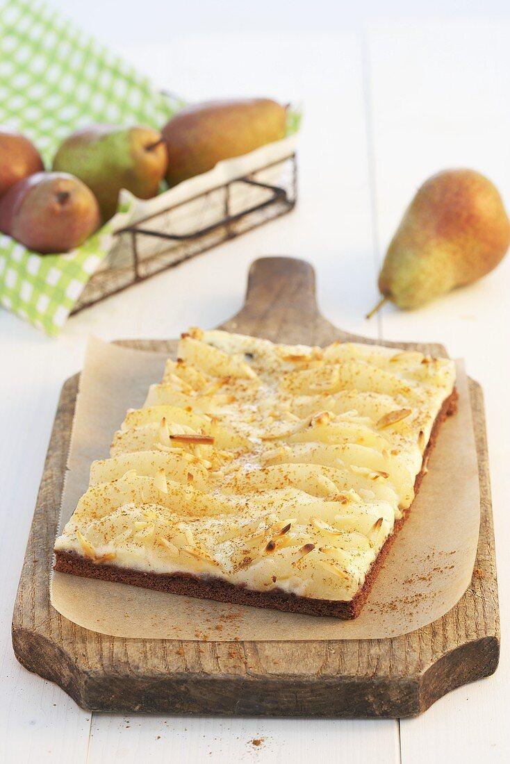 Pear tart on a chopping board