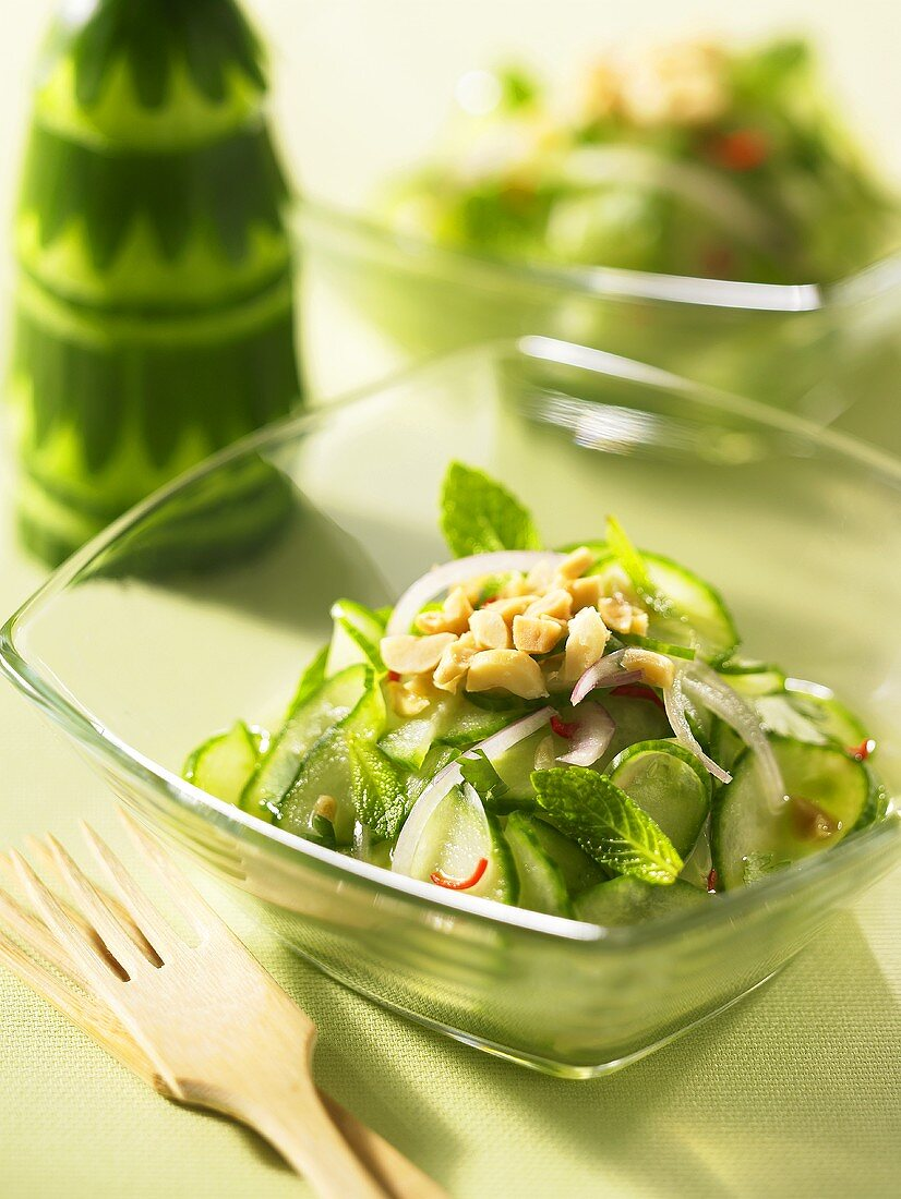 Cucumber salad with peanuts and chilis