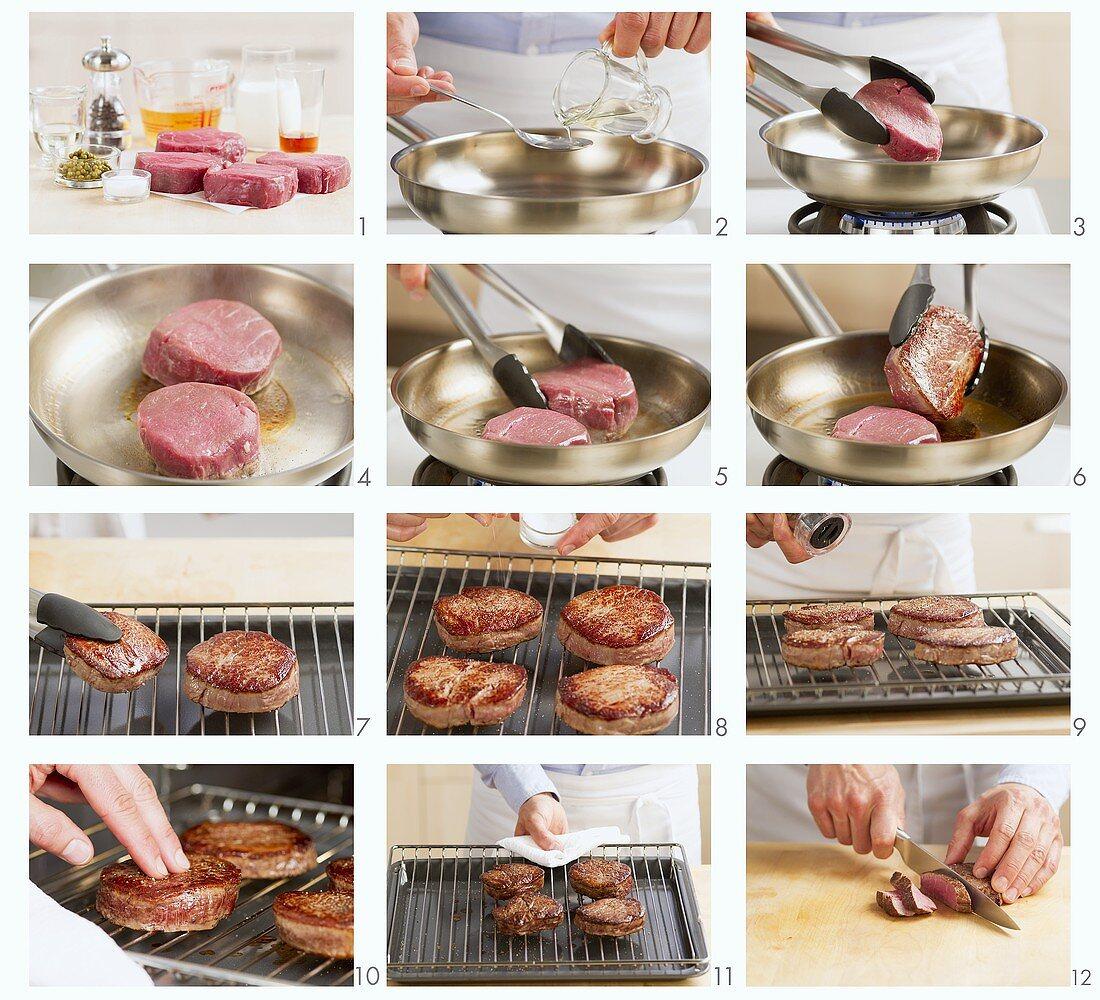 Frying beefsteak