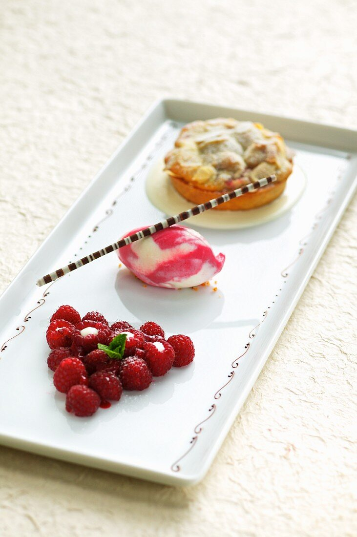 A raspberry tartlet with raspberry ice cream and fresh raspberries