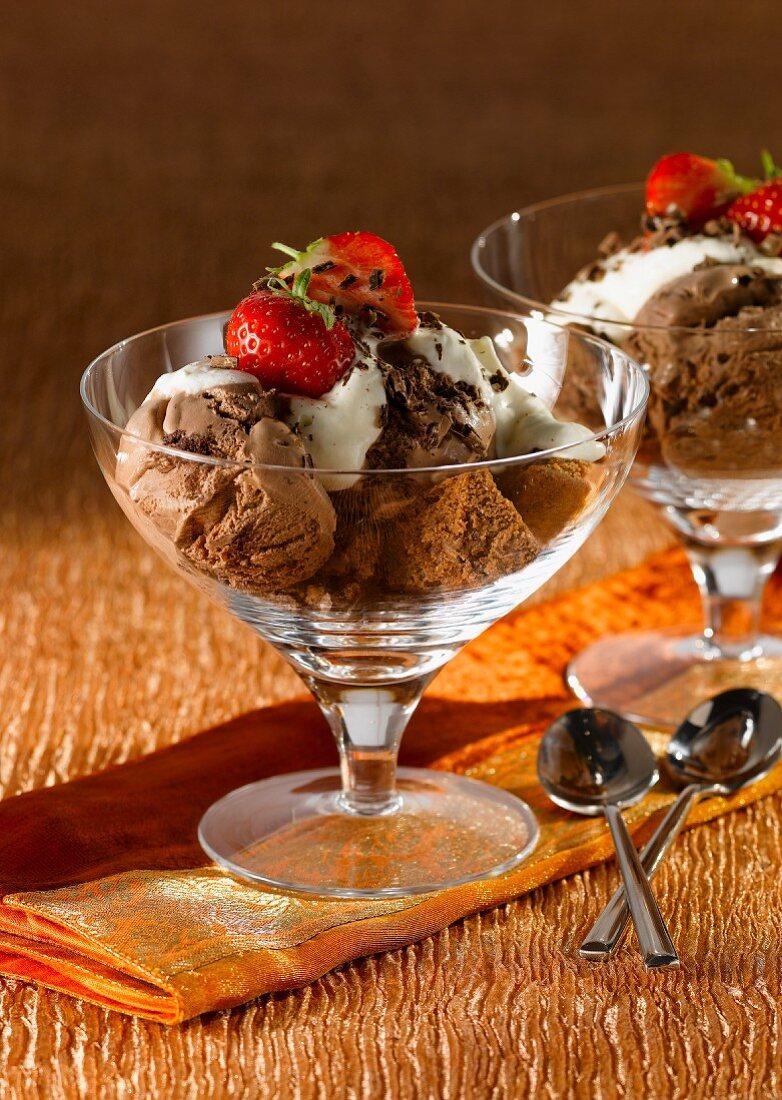 Chocolate ice cream with chocolate sponge and cream