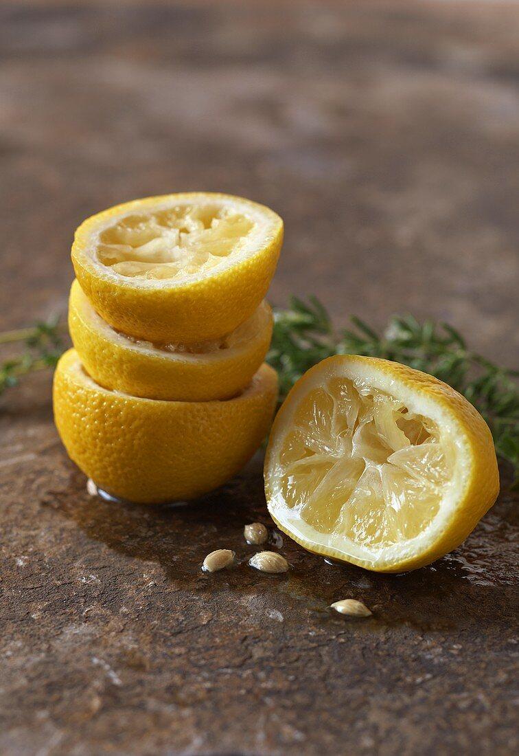 Squeezed lemon halves