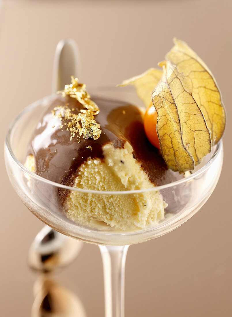Bergamotte ice cream with chocolate and physalis