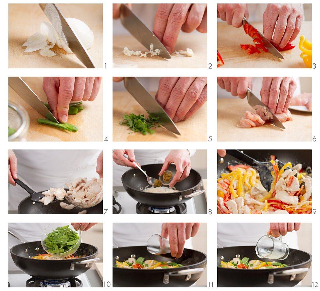 Chicken curry being prepared