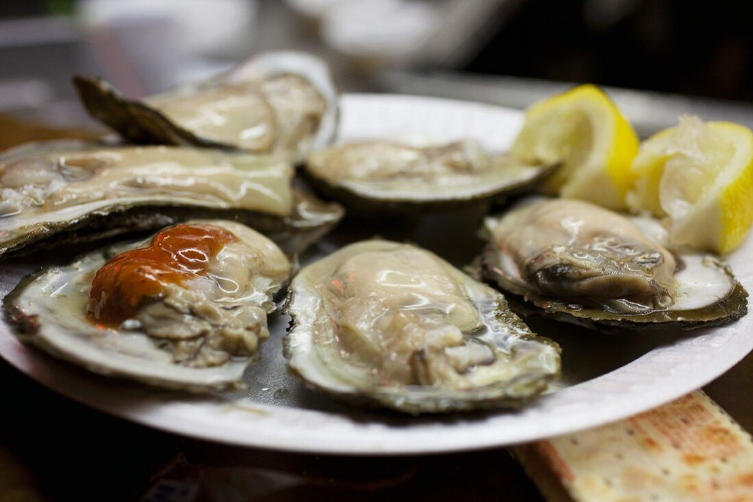 Oysters on the Half Shell at Faidleys Market in Baltimore Maryland