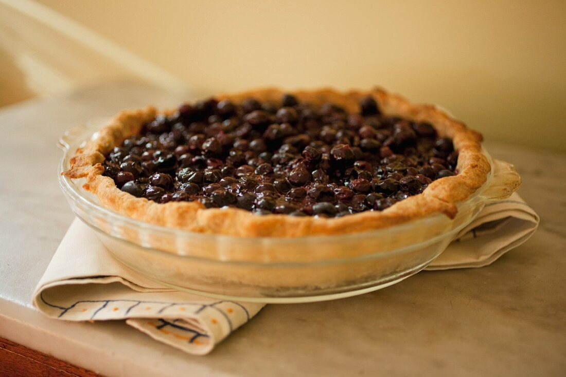 Whole Blueberry Pie in Baking Dish