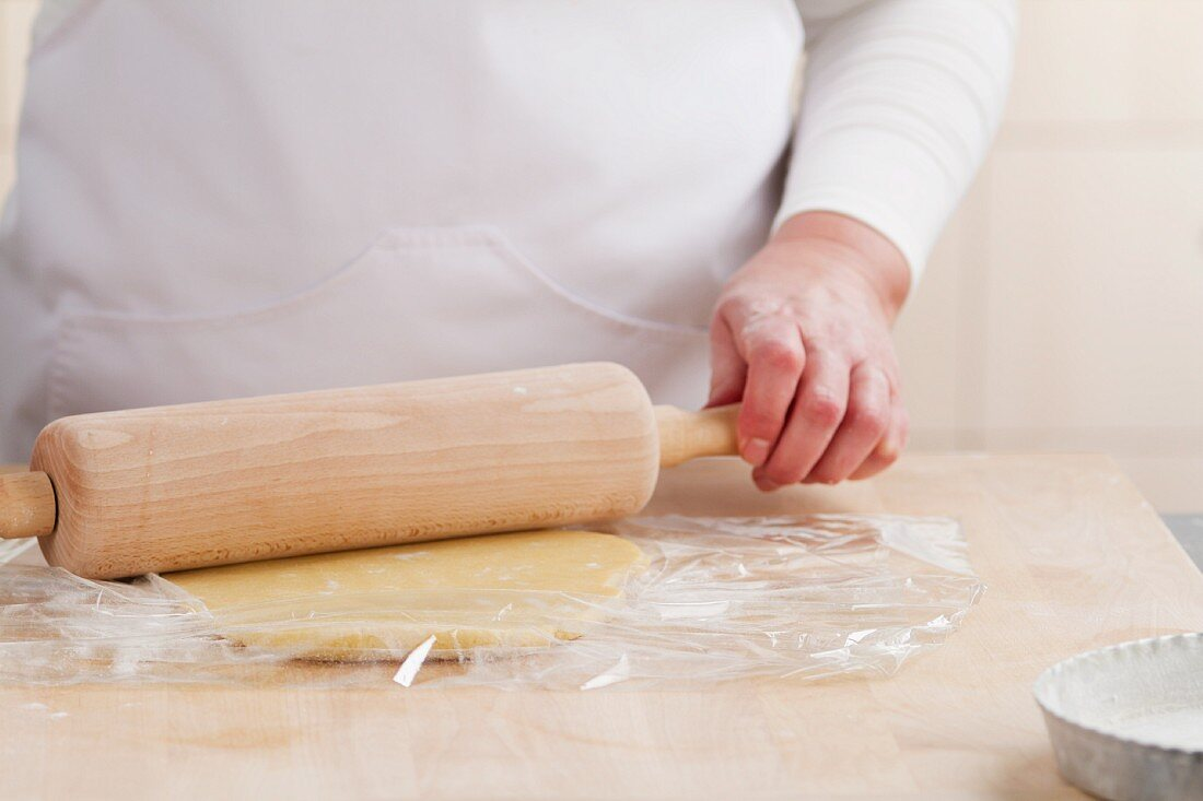 Rolling out biscuit dough