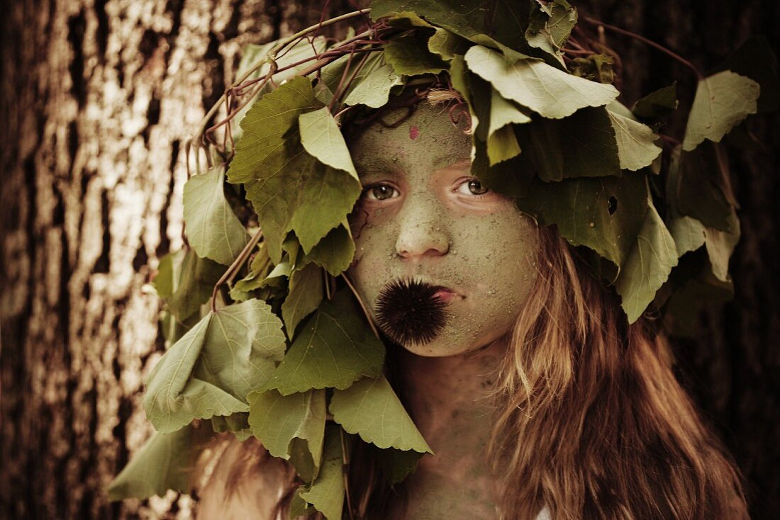 Wood Nymph Girl with Headdress and Echinacea Seed
