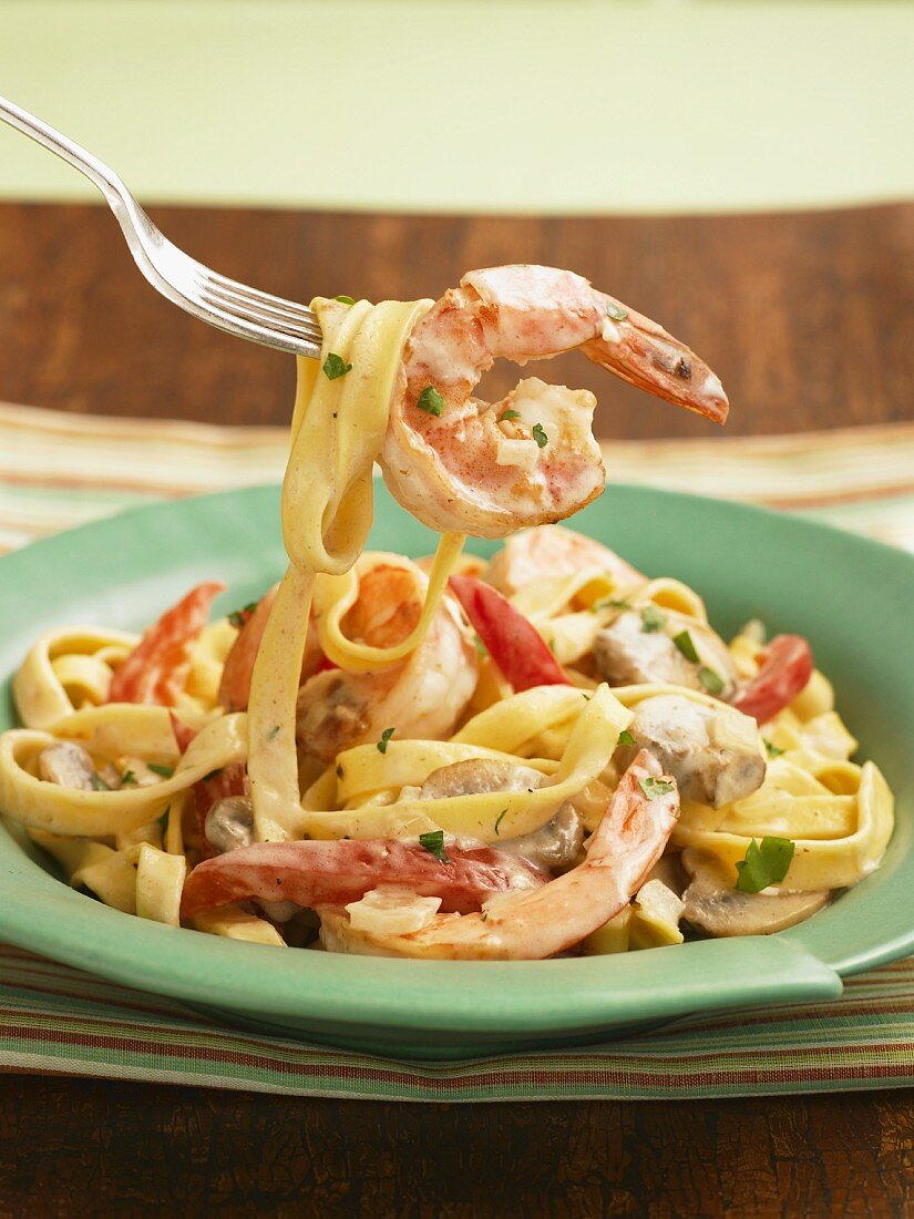 Shrimp Fettuccini Alfredo; On a Fork