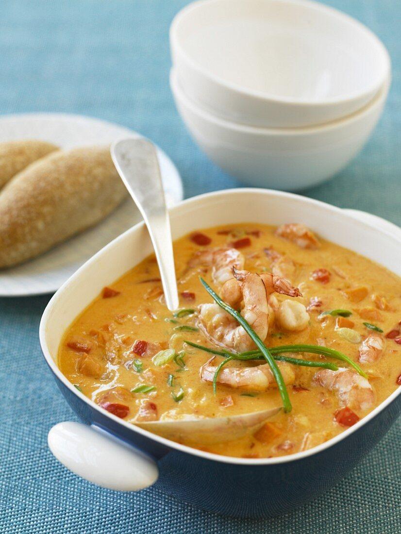 Shrimp Chowder; Bread Rolls; Serving Bowls