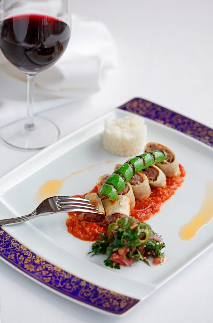 Adana Kebab (Turkish wrap with lamb in tomato sauce)