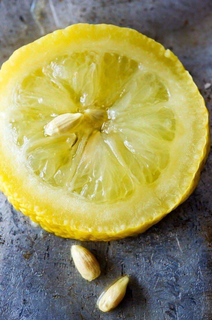 Slice of Menton lemon with pips