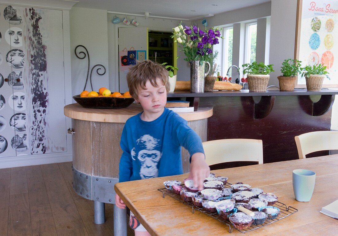 Boy in kitchen takes muffin from cooling rack