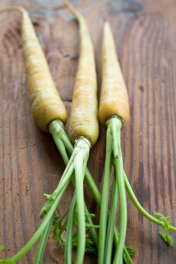 Yellow carrots (variety 'Pfaelzer Lobbericher') on wood