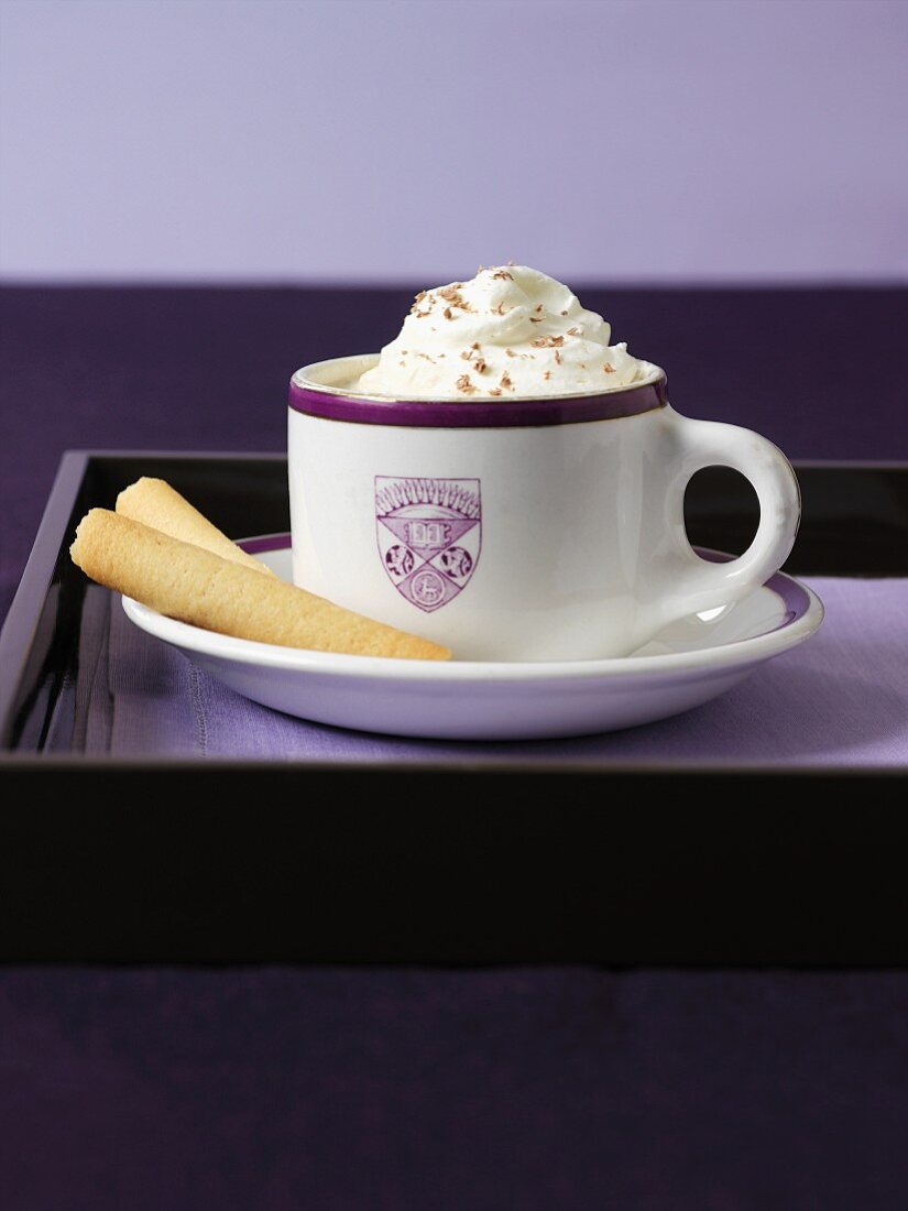 Hot chocolate with cream and wafer rolls