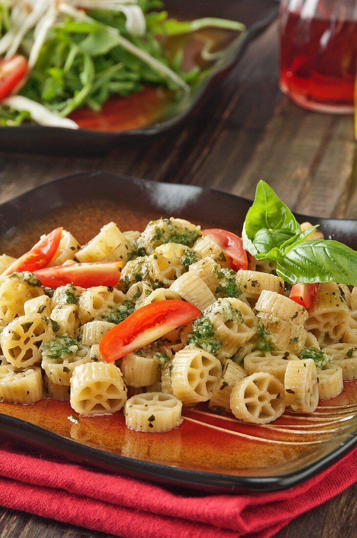 Wagon Wheel Pasta with Homemade Pesto Sauce and Tomatoes