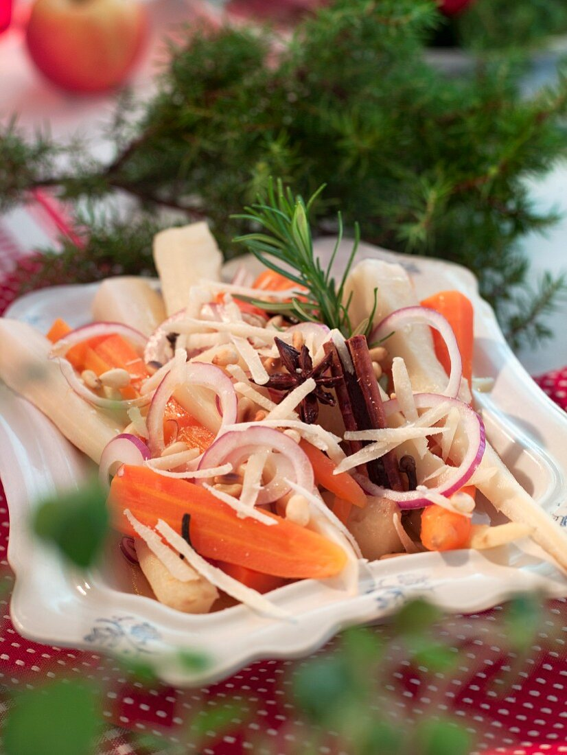 Parsnip and carrot salad with onions for Christmas dinner