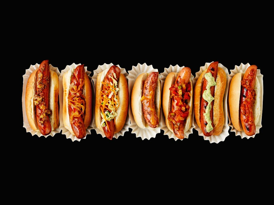 A row of hot dogs