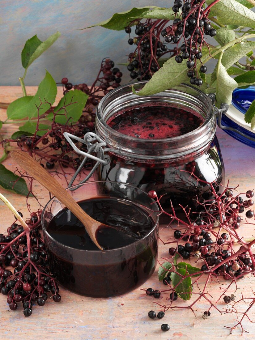 Elderberry compote and jelly
