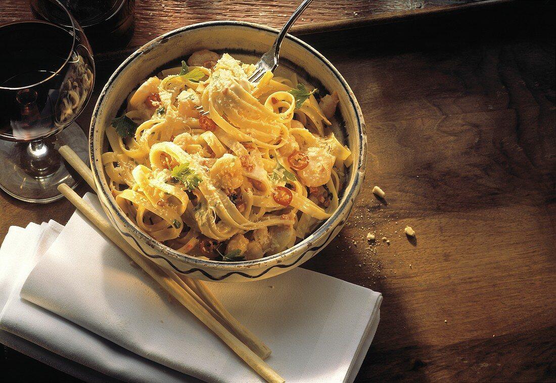 Fettucini with Seafood in Cream Sauce