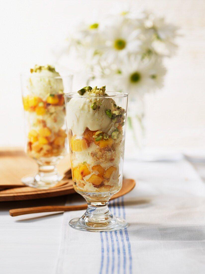 Peach mascarpone in an ice cream dish