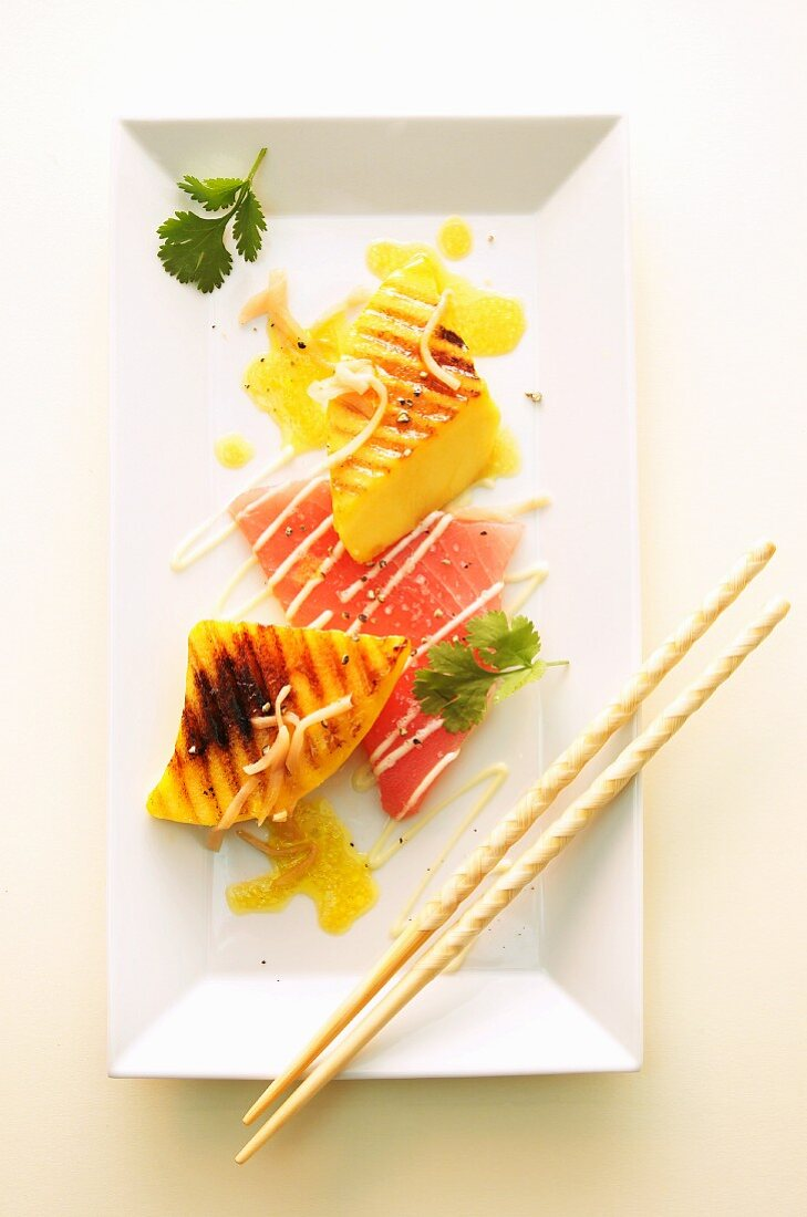 Grilled mango with watermelon